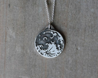 Moon wax seal fine silver pendant