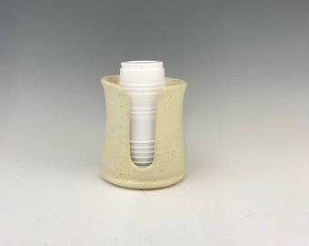 Gloss Cream Kitchen Cup Holder -5 Ounce Cup Dispenser - Pottery Cup Holder - Ceramic Kitchen Cup Holder - Handmade