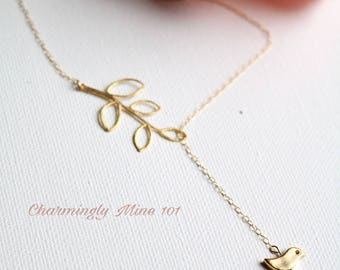 """14k gold filled """"Y"""" necklace. Lariat necklace. Bird and branch necklace."""