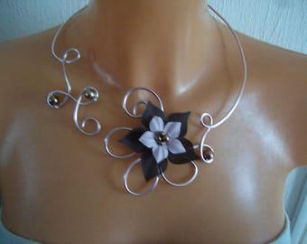 set of jewelry set bridal wedding aluminum wire pink light brown silk flower / rose necklace bracelet earrings spikes