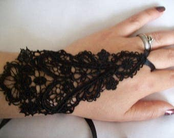 wedding ceremony Black Lace Bridal Gloves party evening pair