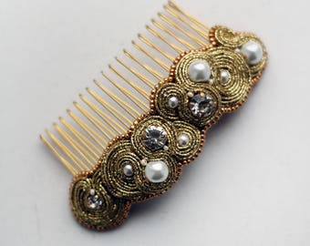 Gold pearl hair comb / Bridal headpiece soutache / Boho wedding hair accessories / Hair comb wedding / Bride hair piece / Side hair combs