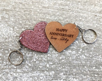 Leather Keychain-Personalized gift-custom-leather anniversary-Valentine's-heart-love -Valentine-women-women-best friend-kids-GLITTER