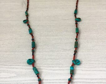 Turquoise Bone Necklace >> Mammal Leg Bone Beaded Taxidermy Onyx Jewelry >> Natural Nevada Bohemian Nature Gift For Her >> Biology Science