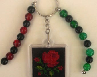 Red Rose embroidered hand bag charm