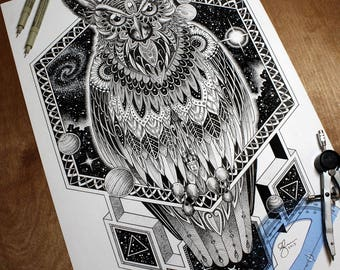 A3 Cosmic Owl Totem Print - Spirit Animal Illustration | Dotwork, Mandala, Geometry & Mysticism