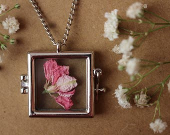 Pink Flower Frame Necklace, Flower Locket, Zen, Boho