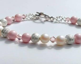 Pink and pearl Swarovski Bracelet