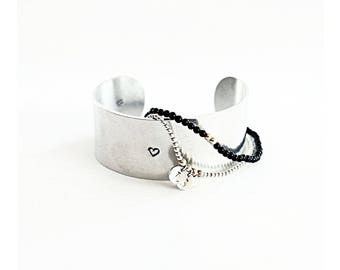 Large Personalized Silver Cuff - Inspirational Bracelet - Hand Stamped Custom Jewelry