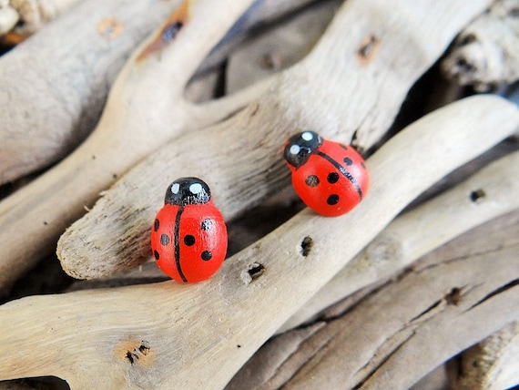Wooden Handpainted Ladybug Stud Earrings Studs Lady Bug Ladybird Lady Bird Ladybeetle Lady Beetle Earring Ear Ring Rings Earings Cute Kawaii