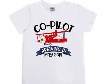 READY TO SHIP - 18m Size - Co Pilot Announcement Shirts  - Big Brother to Be - Bi Plane Shirts - Plane Shirts - Big Brother Announcement