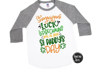 Shenanigans Shirt - St Paddy's Day Shirts - Unisex Kids' Shirts - Fun Holiday Tees - Luck of the Irish - Leprechaun Shirts - St Patricks Day