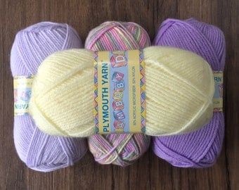 Plymouth DREAMBABY DK Yarn 5.25 +1.25ea to Ship - Yellow 118-Lilac 107-Multi 208-Purple 131 +Free Patterns. Loved by Moms & Hospitals!