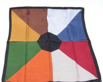 "1960's VTG silk pinwheel pocket square, hand-rolled, unlabeled 19""x18.75"""