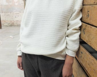 Ribbed cotton white sweater/jersey
