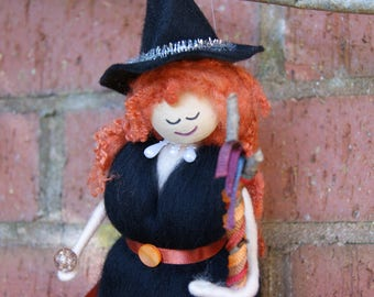Lillith - Wool Felt Witch. Woodland Creature. Magical Fairy. Hand Crafted Wool Witch. Magic. Spells. Enchanting Fae. Pagan Doll. Wiccan Doll