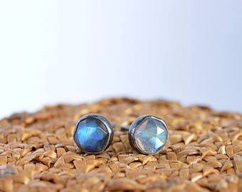 Rainbow Moonstone Stud Earrings, Rose Cut June Birthstone Studs, Minimalist Gemstone earrings: 14k Gold Filled, Oxidized, Sterling Silver