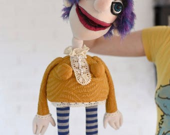 Lala - hand puppet / muppet, original custom made doll