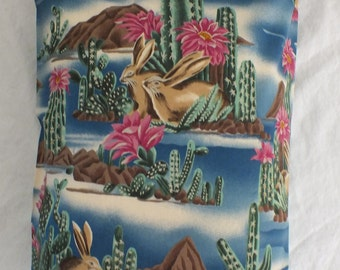 Travel  Pillowcase in Southwest Design with Bunnies and Cactus  14 x 20