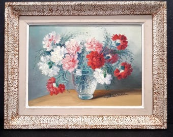 vintage french still life painting, nature morte, flowers in a vase