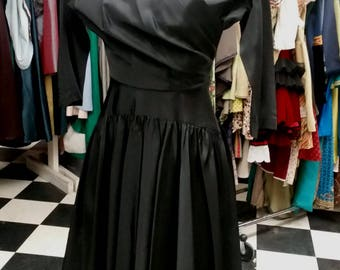 Vintage 1950s Little Black Wrap Dress - small