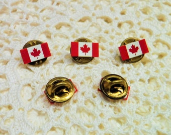 5 Canadian Flag Lapel Pin, 5 Canadian Flag Hat Pins, 5 Canadian Flag Tie Pins, Maple Leaf Canadian Flag Pins, Vintage Canada Pride Pins