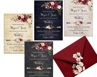 Burgundy Wedding Invitation Printable Floral Wedding Invitation Suite Romantic Roses Wedding Rustic Wedding Invitation Boho Wedding Invites