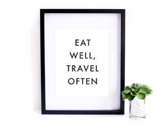 Eat Well, Travel Often Poster - Motivational Quote Print Inspirational Saying Typographic Minimalist Digital Printable Black & White Text