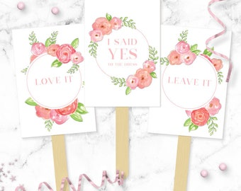 Pink Roses Say YES To The Dress Paddles - Wedding Dress Shopping Signs - Yes No Paddles