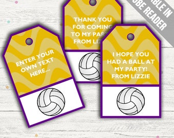 Volleyball Party Favor Tags (Volleyball Thank You Tags). Printable PDF (EDITABLE). Instant Download.