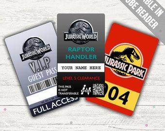 Jurassic World Costume; Jurassic World ID Badge, Visitor Pass, Jurassic Park Vehicle Pass. (Editable PDF)