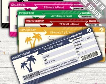 Surprise Trip To Hawaii Boarding Pass (Tropical Destination Surprise Ticket). Six Colors. Editable. Instant Download.