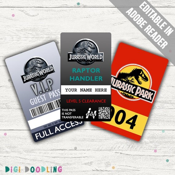 jurassic world costume jurassic world id badge visitor pass