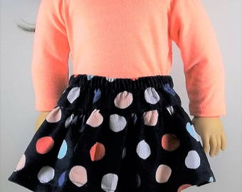 18 inch doll clothes, AG doll clothes, Navy corduroy polka dot skirt, coral turtleneck, orange, blue, white, fits dolls like American Girl