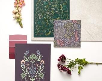 Botanical Art Print Set | Series of 3 Prints | Flowers, Floral, Folk Art, Bohemian, Bouquet, Hand-drawn, Feminine, Gift for Gardener