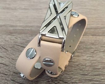 Handmade Vegan Band for Fitbit Flex Activity Tracker Beige Double Wrap Bracelet Silver Design Fitbit Flex Holder Fitbit Flex Bands