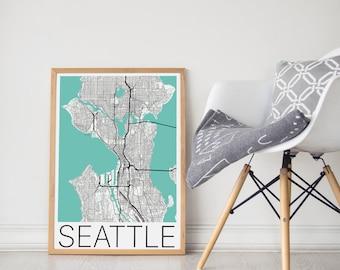 Seattle Map / Seattle Poster / Seattle Print / Seattle Map Print / Seattle Wall Art / City Map Print / Seattle Washington Map /