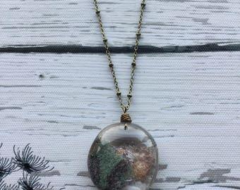 Lodolite Quartz necklace, scenic Quartz, garden Quartz