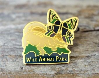 Vintage San Diego Wild Animal Park Alligator and Butterfly Pin Safari Collectible Tack Brooch