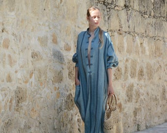 ANAIS steel blue color, striped, ONE SIZE, tunic for women. Pure soft linen. Oversized,Loose fit.