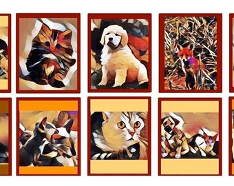 Animal Artsy Stickers,Dogs and Cats Art Stickers, Cubist Decals,MacBook Decal,Laptop Stickers,Vertical Planner Sticker,Laptop Decal