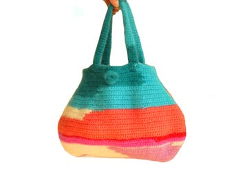 bag felted in colorful, purse, handbag, womens bag, shoulder bag