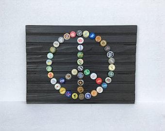 Peace Sign Bottle Cap Wall Art