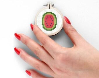 Mini Watermelon Cross Stitch Pattern Mini Pattern Tiny Gift Handmade Fruit Pattern Cross Stitch Embroidery Kawaii Needlework Watermelon