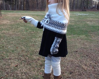 Upcycled Set, Cowl, Handwarmers and Legwarmers - Made from an Upcycled Sweater - Capelet - Cowl Neck - Child Set - 3-5 years