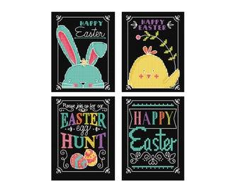 Chalkboard Easter - Durene J Cross Stitch Pattern - DJXS2269
