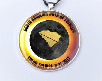 """South Carolina Path of Totality Total Solar Eclipse 2017 Ornament - 2"""" Charleston Total Solar Eclipse- Car Rear View Mirror Ornament"""
