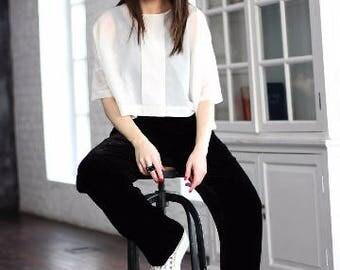 Black Pants/Wide Pants/Long Pants/Black Velvet/Silk Velvet/Womens Pants/Trouser Pants/Fashion Pants/ Festival Pants/Fashion Clothing/R00141