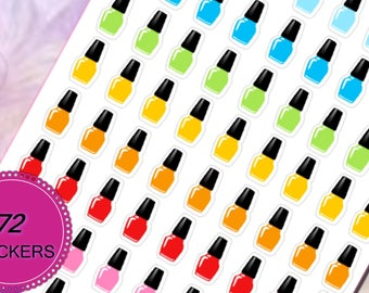72 Mani Pedi Manicure Pedicure Nail Polish Planner Stickers for Erin Condren Life Planner (ECLP) Reminder Sticker LDD1016