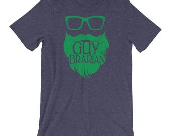 Guybrarian Librarian Beard Short Sleeve Heather T-shirt | Gift for Librarian | Beards make it better | Library Humor